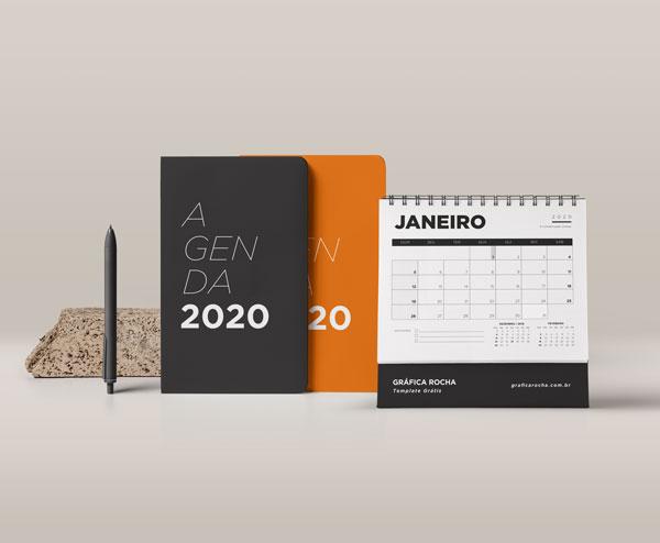 Calendario 2020 Com Feriados Para Impressao.Template Gratis De Agenda E Calendario 2020 Grafica Rocha